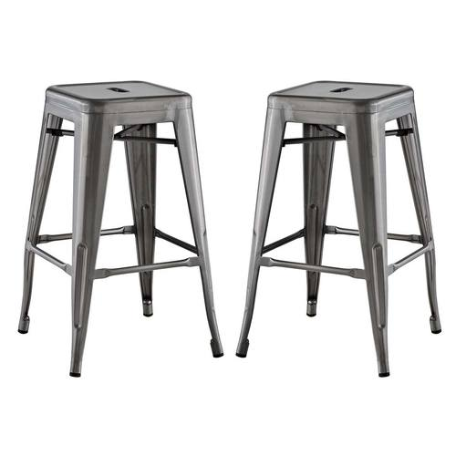 Stupendous Promenade Set Of 2 Counter Stool Gunmetal By Modway Forskolin Free Trial Chair Design Images Forskolin Free Trialorg