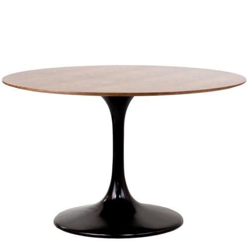 Lippa 48 Inch Round Walnut Dining Table Black By Modway