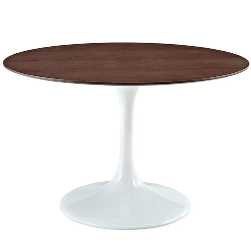 Lippa 48 Inch Round Walnut Dining Table White By Modway