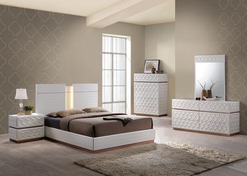 Emma Leather Cream Bedroom Set By Global Furniture