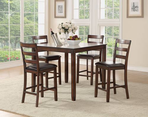 f2546 dark espresso 5 pcs counter height dining set by poundex