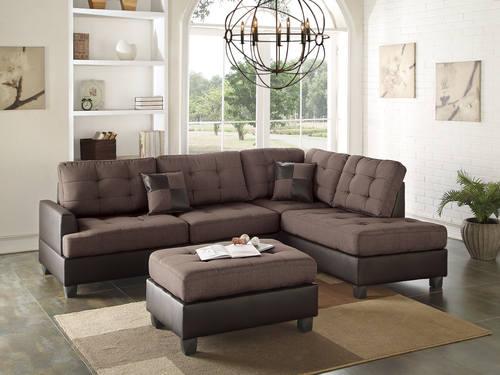 F6857 Chocolate 3 Pcs Sectional Sofa Set By Poundex