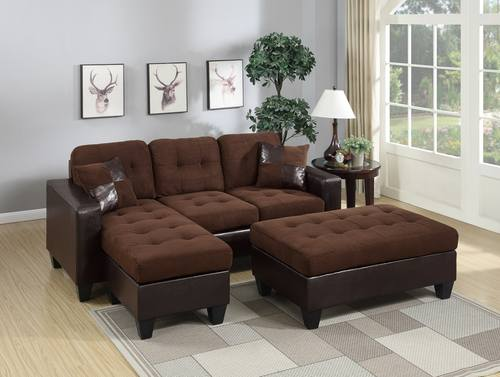 F6928 Chocolate Sectional Sofa Set By Poundex