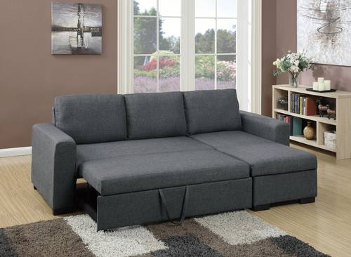 F6931 Blue Gray Convertible Sectional Sofa by Poundex