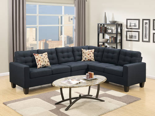 F6937 Black Sectional Sofa by Poundex : black sectional sofas - Sectionals, Sofas & Couches