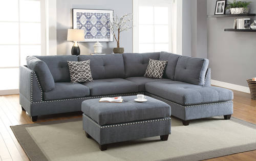 F6975 Blue Gray 3 Pcs Sectional Sofa Set by Poundex