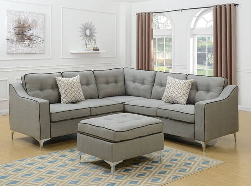 F6998 Light Gray 4 Pcs Sectional Sofa Set