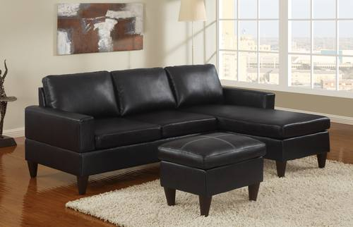 F7297 Black Sectional Sofa Set by Poundex : sectional sofa black - Sectionals, Sofas & Couches
