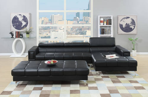 F7363 Black 2 Pcs Sectional Sofa