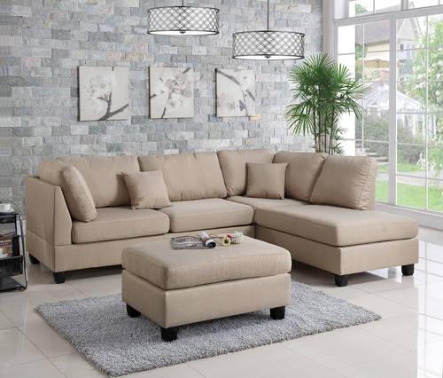 F7605 Sand 2 Pcs Sectional Sofa Set By Poundex