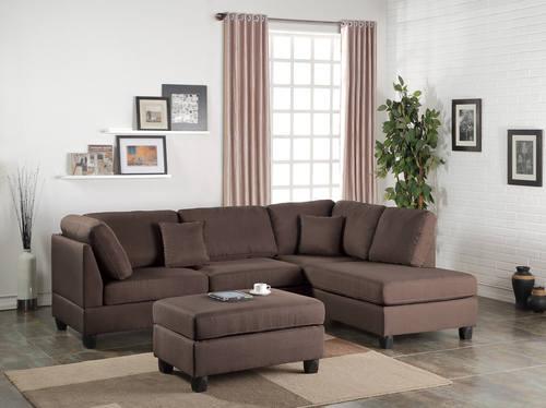 F7608 Chocolate 2 Pcs Sectional Sofa Set By Poundex