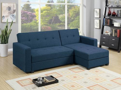 F7895 Navy Blue Reversible Chaise Sectional Sofa by Poundex : sectional sofa with reversible chaise - Sectionals, Sofas & Couches