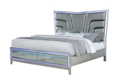 Luxury Silver Bedroom Set W Mirror, Galaxy Furniture Bedroom Set