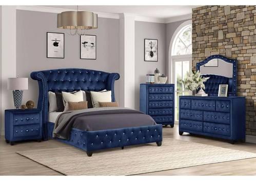 Sophia Navy Blue Bedroom Set By Galaxy, Galaxy Furniture Bedroom Set