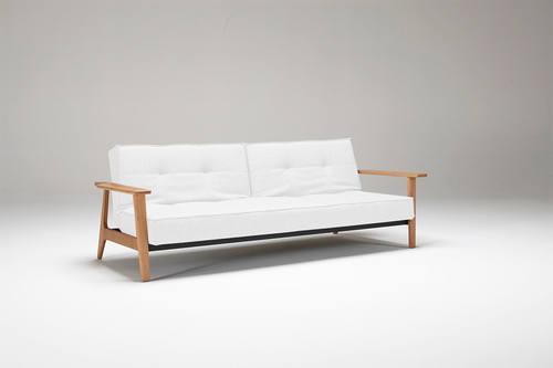 Splitback Sofa Bed W Frej Arms White Leather Textile
