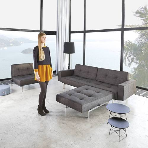 Splitback Sofa Bed w/Arms Mixed Dance Gray by Innovation