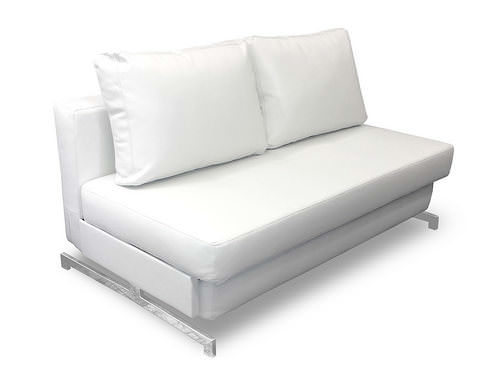 Modern White Leather Textile Queen Sofa Sleeper K43 2