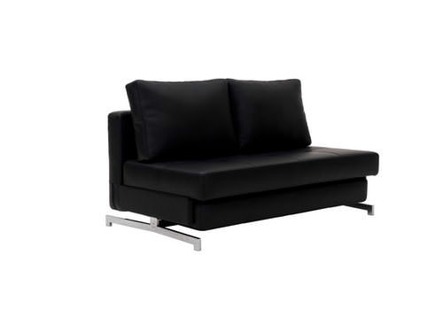 Modern Black Leather Textile Queen Sofa Sleeper K43 2