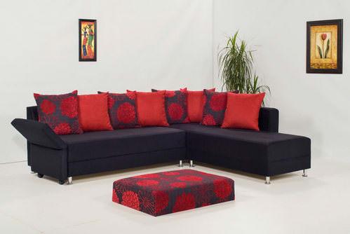 Piano Black Microfiber Sectional Sofa by Kilim