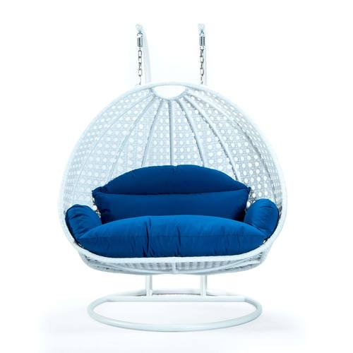 Wicker Hanging Egg Swing Chair Double, Blue Egg Chair