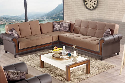 Long Island Brown Fabric Sectional Sofa by Empire Furniture USA