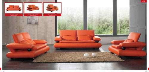 410 Orange Leather Sofa
