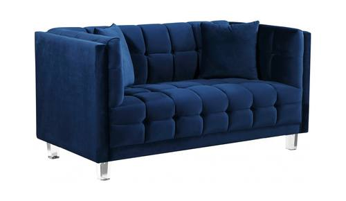 Fabulous Mariel Navy Blue Velvet Loveseat By Meridian Furniture Squirreltailoven Fun Painted Chair Ideas Images Squirreltailovenorg