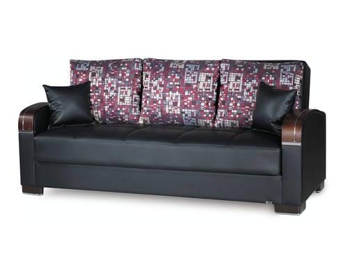 Mobimax Black PU Convertible Sofa