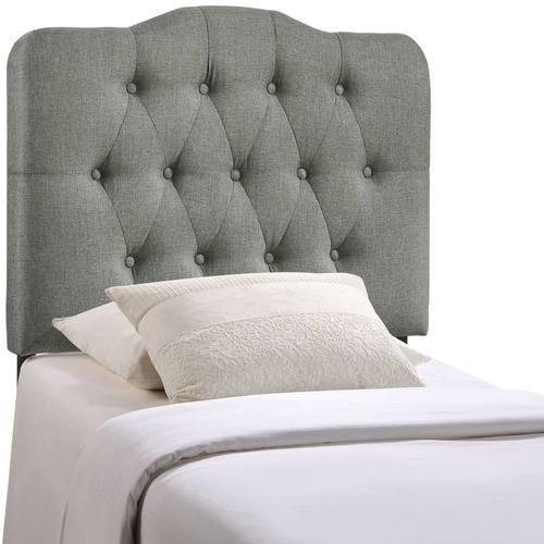 Annabel Twin Upholstered Fabric Headboard Gray
