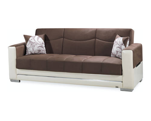 Monaco Brown Cream Sofa Bed