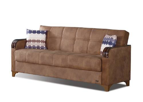 Nevada Brown Fabric Sofa Bed By Empire