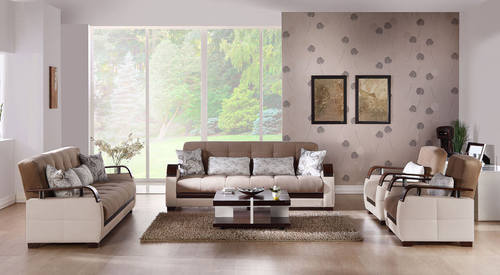 Natural Naomi Light Brown Sofa Love Chair Set