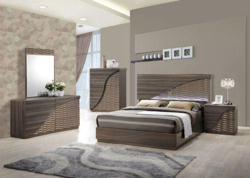 Zebra Wood/Gold Line Bedroom Set by Global Furniture