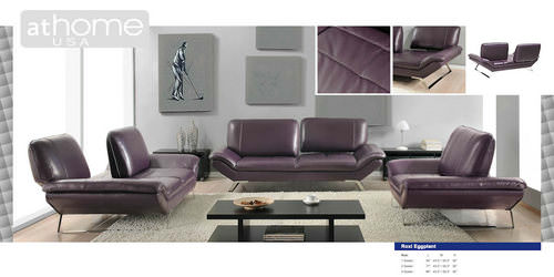 Roxi Eggplant Full Italian Leather Sofa by At Home