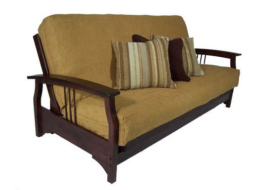 Fremont Dark Cherry Twin Chair Wall Hugger Futon Frame