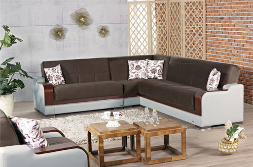 Texas Brown Fabric Sectional Sofa