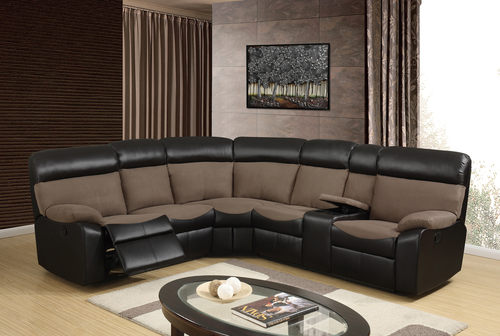 U1399 Brown Fabric/Chocolate PU 3pc Sectional Sofa
