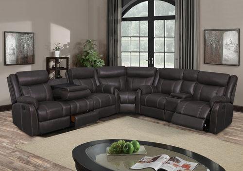 U7303c Charcoal Printed Fabric Sectional Sofa