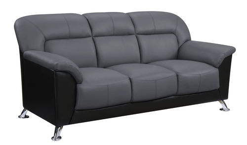 U9102 Dark Grey/Black Vinyl Sofa