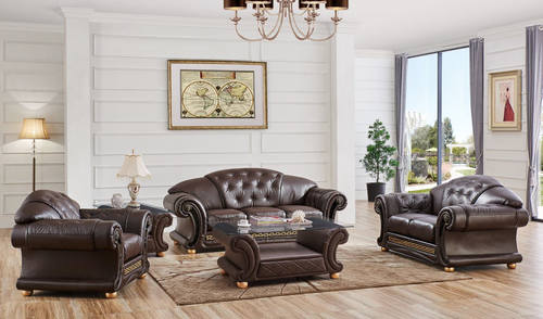 Versace Brown Leather Sofa Set