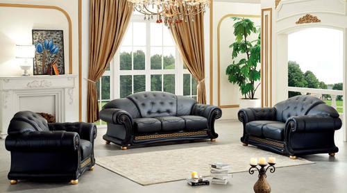 Charmant Versace Black Leather Sofa Set