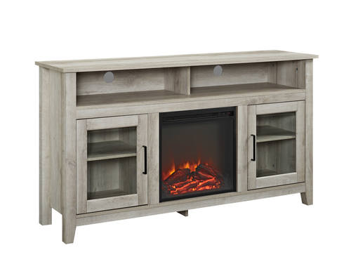 Highboy 58 Inch Wood Fireplace Media TV Stand Console   White Oak