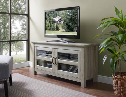 44 Inch Wood TV Media Stand Storage Console   White Oak