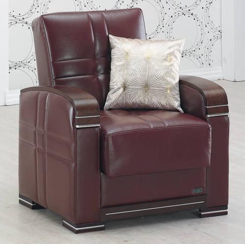 Merveilleux Manhattan Burgundy Leather Chair