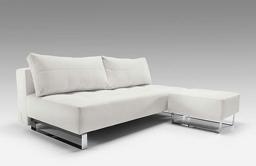 Supremax Deluxe Excess Lounger Sofa Bed White Leather Textile