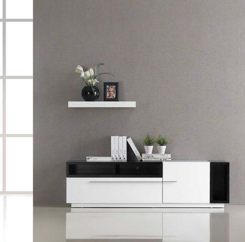 Tv030 White Gloss Dark Oak Tv Stand Black