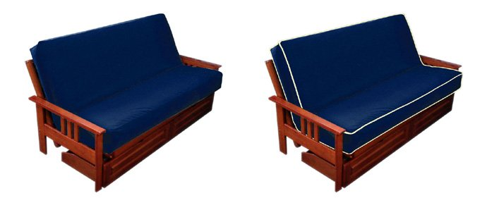 The Futon Cover Is Shown Without Piping Left And With Right Might Be Made In Diffe Colors Blue Creme